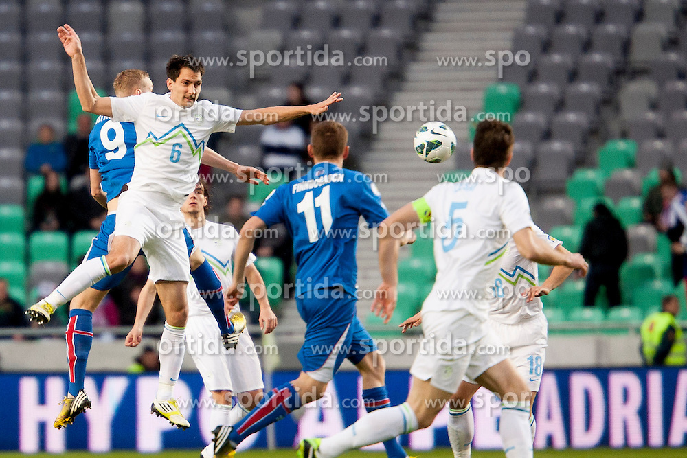 Branko Ilic #6 of Slovenia during football match between National teams of Slovenia and Iceland in Group E of FIFA World Cup 2014 Qualification on October 12, 2012 in SRC Stozice, Ljubljana, Slovenia. (Photo By Urban Urbanc / Sportida)