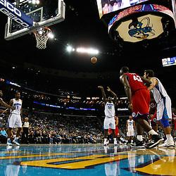 January 3, 2011; New Orleans, LA, USA; New Orleans Hornets center Emeka Okafor (50) shoots a free throw against the Philadelphia 76ers during the third quarter at the New Orleans Arena. The Hornets defeated the 76ers 84-77.  Mandatory Credit: Derick E. Hingle