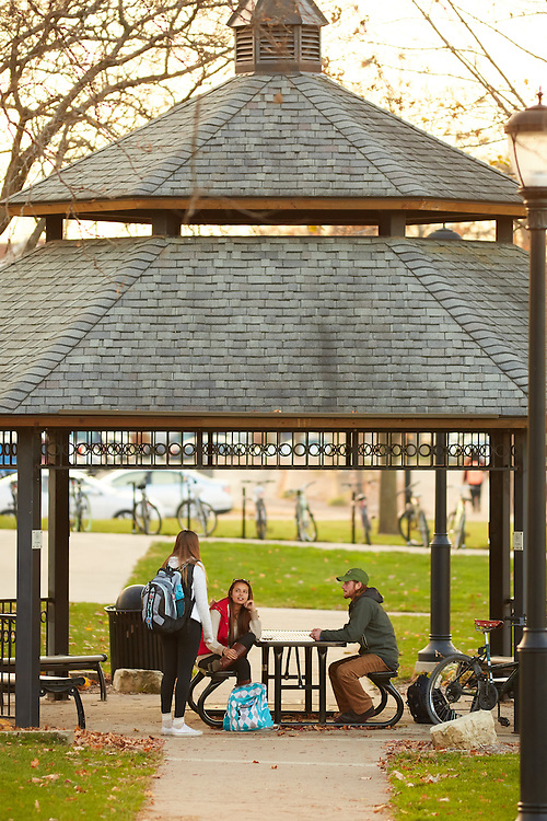 Activity; Socializing; Gazebo; Fall; November; Location; Outside; People; Student Students; Time/Weather; day; Type of Photography; Candid; UWL UW-L UW-La Crosse University of Wisconsin-La Crosse