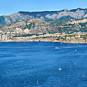 Sorrento Coast, wide panoramic view of the Gulf and the city of Sorrento