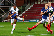 Joshua Onomah England U21s (Sheffield Wednesday, loan from Tottenham Hotspur) shoots under pressure from Ryan Porteous Scotland U21s (Hibernian FC) during the U21 UEFA EUROPEAN CHAMPIONSHIPS match Scotland vs England at Tynecastle Stadium, Edinburgh, Scotland, Tuesday 16 October 2018.