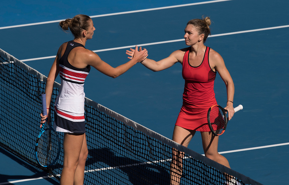 Karolina Pliskova of the Czech Republic and Simona Halep of Romania on day ten of the 2018 Australian Open in Melbourne Australia on Wednesday January 24, 2018.<br /> (Ben Solomon/Tennis Australia)