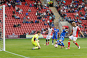 Portsmouth's Curtis Main gets the best chance of the match but can't put it away during the EFL Sky Bet League 2 match between Crewe Alexandra and Portsmouth at Alexandra Stadium, Crewe, England on 13 August 2016. Photo by Craig Galloway.