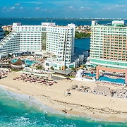 Aerial view of the ME Cancun hotel.