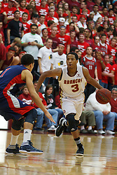 Jan 21, 2012; Santa Clara CA, USA; Santa Clara Broncos guard Brandon Clark (3) dribbles the ball against the St. Mary's Gaels during the first half at the Leavey Center.  St. Mary's defeated Santa Clara 93-77. Mandatory Credit: Jason O. Watson-US PRESSWIRE