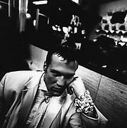 A man in Rock'n' Roll style, Bar Italia, Soho, London, UK 1980's
