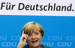 60517473  <br /> German Chancellor and chancellor candidate for the Christian Democratic Union (CDU) Angela Merkel attends a press conference in Berlin,Germany, on Sept. 23, 2013. Merkel said Monday that she had already contacted the Social Democrats (SPD) leadership on possible coalition negotiations but did not rule out talks with other potential coalition partners., Monday,   September 23, 2013,<br /> Picture by imago / i-Images<br /> UK ONLY