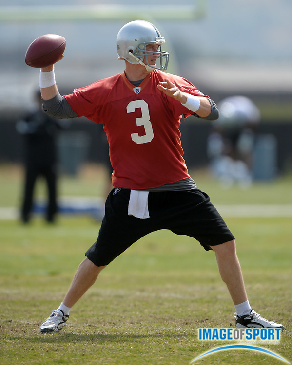 May 26, 2010; Alameda, CA, USA; Oakland Raiders quarterback Charlie Frye (3) at organized team activities at the Oakland Raiders practice facility.