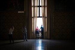 Visitors in the Doge's Palace, San Marco, Venice, Italy.<br />