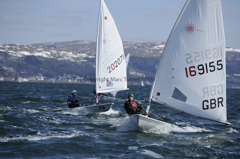 Day 1 of the RYA Youth National Championships 2013 held at Largs Sailing Club, Scotland from the 31st March - 5th April. ..169155, Hugh BRAIDWOOD Beccles Amateur Sailing Club, Laser radial..For Further Information Contact..Matt Carter.Racing Communications Officer.Royal Yachting Association.M: 07769 505203.E: matt.carter@rya.org.uk ..Image Credit Marc Turner / RYA..