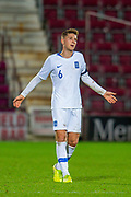 Panagiotis Retsos (#6) of Greece U21 is shown a red card during the U21 UEFA EUROPEAN CHAMPIONSHIPS match between U21 Scotland and U21 Greece at Tynecastle Park, Edinburgh, Scotland on 15 November 2019.