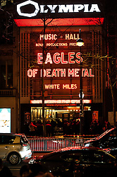 "© London News Pictures. 16/02/2015 Olympia Theatre, Paris: Fans queue before the Eagles of Death Metal ""resume their gig"" three months after the terrorist attack at Bataclan that claimed the lives of 90 people on 13 November 2015. Heavy security was in evidence and media kept at a distance ""to preserve the dignity of returning survivors"" according to a police spokesperson. Ticket holders of the fateful Bataclan concert were offered complimentary tickets for tonight's gig. Photo credit: Guilhem Baker/LNP"