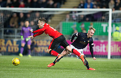 Rangers McKay and Falkirk's Craig Sibbald. <br /> Falkirk 3 v 2 Rangers, Scottish Championship game player at The Falkirk Stadium, 18/3/2016.