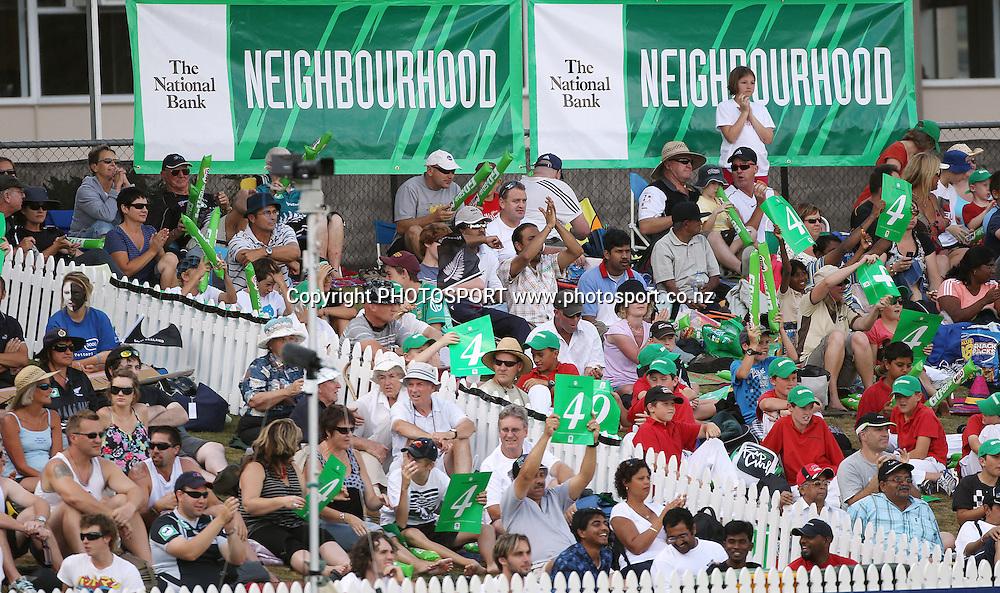 National Bank Neighbourhood.<br />3rd one day international. New Zealand Black Caps versus Australia one day Chappell Hadlee cricket series. Seddon Park, Auckland, New Zealand. Tuesday 9 March 2010. Photo: Andrew Cornaga/PHOTOSPORT