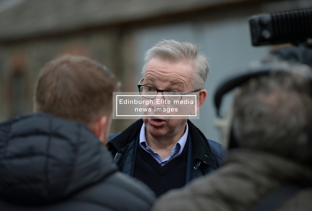 Pictured: Michael Gove talking to the media on the farm.<br /> <br /> Chancellor of the Duchy of Lancaster Michael Gove visited Grange Farm in Dumfries & Galloway with Conservative candidate Alister Jack during the election campaign to highlight the beefits of Brexit to the farming sector.<br /> <br /> <br /> © Dave Johnston / EEm