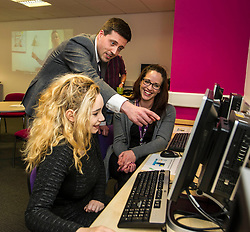 Pictured: Jamie Hepburn, Alison  Johnston and Hannah Wood<br /> <br /> Today, Minister for employability and training, Jamie Hepburn MSP visited Remploy in Edinburgh where he announced new employment services funding. Mr Hepburn gave details on cash which will develop new ways of supporting the Scottish Government's new devolved employment services. <br /> <br /> Ger Harley | EEm 21 December 2016