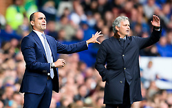 Everton Manager, Roberto Martinez and Chelsea Manager, Jose Mourinho shout instructions to their players  - Mandatory byline: Matt McNulty/JMP - 07966386802 - 12/09/2015 - FOOTBALL - Goodison Park -Everton,England - Everton v Chelsea - Barclays Premier League
