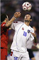 FOOTBALL - WORLD CUP 2006 - QUALIFYING ROUND - GROUP 7 - SERBIA MONTENEGRO v BELGIUM - 04/06/2005 - ANTHONY VANDEN BORRE (BEL) / MIRKO VUCINIC (SER) - <br />