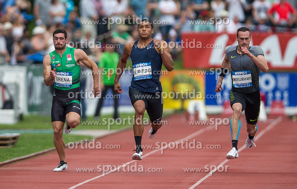 28.05.2016, Moeslestadion, Goetzis, AUT, 42. Hypo Meeting Goetzis 2016, Zehnkampf der Herren, 100 Meter, im Bild v. l. Jorge Arena (ESP), Garrett Scantling (USA), Dominik Distelberger (AUT) // Jorge Arena of Spain ( L ) Garrett Scantling of United States ( C ) Dominik Distelberger of Austria ( R ) during the 100 metres event of the Decathlon competition at the 42th Hypo Meeting at the Moeslestadion in Goetzis, Austria on 2016/05/28. EXPA Pictures © 2016, PhotoCredit: EXPA/ Peter Rinderer