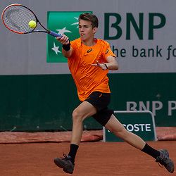 June 5, 2017 - Paris, France - Zsombor Piros of Hungary returns the ball to Simon Carr of Irland during the  boys 2nd..round at Roland Garros Grand Slam Tournament - Day 9 on June 5, 2017 in Paris, France. (Credit Image: © Robert Szaniszlo/NurPhoto via ZUMA Press)