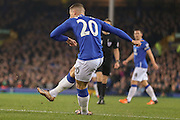 Everton midfielder Ross Barkley  shoots during the Barclays Premier League match between Everton and Crystal Palace at Goodison Park, Liverpool, England on 7 December 2015. Photo by Simon Davies.