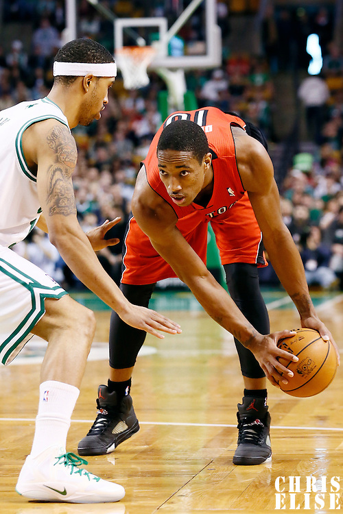 17 November 2012: Toronto Raptors shooting guard DeMar DeRozan (10) looks to pass the ball during the Boston Celtics 107-89 victory over the Toronto Raptors at the TD Garden, Boston, Massachusetts, USA.