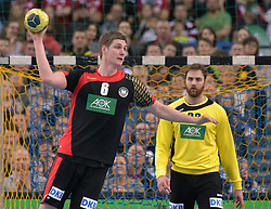 11.03.2016, Leipzig, GER, Handball Länderspiel, Deutschland vs Katar, Herren, im Bild Finn Lemke (GER #6) und Andreas Wolff (GER #33) // during the men's Handball international Friendlies between Germany and Qatar in Leipzig, Germany on 2016/03/11. EXPA Pictures © 2016, PhotoCredit: EXPA/ Eibner-Pressefoto/ Modla<br /> <br /> *****ATTENTION - OUT of GER*****
