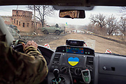 Julia Paevska's ambulance is approaching a small military base named 'zamok', Ukrainian for 'castle', in Luhanske, between Ukraine-controlled Bakhmut and the separatist-held town of Debaltseve.