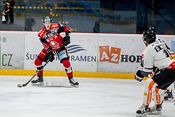 08.01.2017, Ice Rink, Znojmo, CZE, EBEL, HC Orli Znojmo vs Dornbirner Eishockey Club, 41. Runde, im Bild v.l. Marek Spacek (HC Orli Znojmo) Christopher Dalvise (Dornbirner) // during the Erste Bank Icehockey League 41th round match between HC Orli Znojmo and Dornbirner Eishockey Club at the Ice Rink in Znojmo, Czech Republic on 2017/01/08. EXPA Pictures © 2017, PhotoCredit: EXPA/ Rostislav Pfeffer