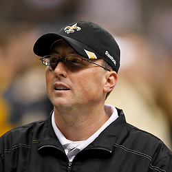 January 7, 2012; New Orleans, LA, USA; New Orleans Saints offensive coordinator Pete Carmichael during the 2011 NFC wild card playoff game against the Detroit Lions at the Mercedes-Benz Superdome. Mandatory Credit: Derick E. Hingle-US PRESSWIRE