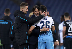 February 7, 2019 - Rome, Italy - Ss Lazio v Empoli Fc - Serie A.Simone Inzaghi trainer of Lazio celebrates with Sergej Milinkovic-Savic and Åžtefan Radu of Lazio at Olimpico Stadium in Rome, Italy on February 7, 2019. (Credit Image: © Matteo Ciambelli/NurPhoto via ZUMA Press)