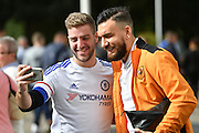 Hull City midfielder Robert Snodgrass (10) arives at KCOM stadium a Chelsea fan takes photo before the Premier League match between Hull City and Chelsea at the KCOM Stadium, Kingston upon Hull, England on 1 October 2016. Photo by Ian Lyall.