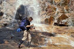 Hiking at the base of Arethusa Falls, NH's tallest waterfall.  Arethusa Falls,  White Mountains, NH