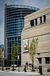 The $24.4 million Flint Hills Discovery Center, located in Manhattan, Kansas celebrates the history, culture, and heritage of the Flint Hills and tallgrass prairie. Through interactive exhibits Flint Hills Discovery Center visitors can explore the science and cultural history of the last stand of tallgrass prairie in North America – one of the world's most endangered ecosystems.<br /> <br /> The Flint Hills Discovery Center was designed by the museum architectural firm Vern Johnson Inc. with interpretive design and planning by Hilferty and Associates. The 34,900 square foot science and history learning center features permanent interactive exhibits, temporary exhibits, and areas for community programs and outreach activities.<br /> <br /> Attractions of the Flint Hills Discovery Center include: a 15-minute 'immersive experience' film which has special effects such as fog, mist and wind which appear in the theater as the high definition film is shown on a large panoramic screen; an 'underground forest' depicting the long roots of prairie plants including the 7-foot roots of bluestem prairie grass; explanations of importance of fire to the Flint Hills tallgrass prairie; and exhibits about the people and cultural history of the Flint Hills.<br /> <br /> The Flint Hills Discovery Center received a LEED green building certification for their environmental design and energy efficiency, including their lighting and geothermal heating/cooling system.