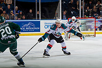 KELOWNA, CANADA - JANUARY 9: Dalton Gally #3 of the Kelowna Rockets tries to block a shot against the Everett Silvertips  on January 9, 2019 at Prospera Place in Kelowna, British Columbia, Canada.  (Photo by Marissa Baecker/Shoot the Breeze)