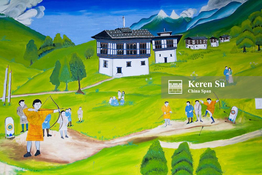 Painting depicting daily life, Bhutan