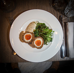 Scotch egg and rarebit to start. Tam Cowan restaurant review, The Printing Press, Carlton George Hotel, George Street, Edinburgh