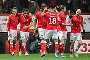 GOAL - Charlton Athletic defender Tom Lockyer (5) celebrates with Charlton Athletic midfielder Alfie Doughty (45) after scoring a goal (2-2) during the EFL Sky Bet Championship match between Charlton Athletic and West Bromwich Albion at The Valley, London, England on 11 January 2020.