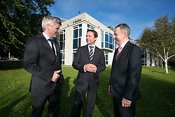 Repro Free: 25/09/2014 SoftCo, the leading Irish software technology company, has today announced the addition of up to 50 new positions - primarily in its R&amp;D, Sales and Cloud Services divisions - which will bring the total employee numbers to 120 over the next twelve months.  The company also recently opened offices in Helsinki and Cork. <br /> The expansion reflects strong international demand for its Business Process Automation solutions and the successful rollout of its &lsquo;revolutionary&rsquo; health insurance Claims Management Solution, SoftCo eClaims.  SoftCo also secured a number of new Healthcare deals including Alliance Medical, Beacon Hospital, Whitfield Clinic and Providence Hospital in Columbia, South Carolina.<br /> Pictured at the announcement are (l-r); Mr. David Beirne, Chief Financial Officer, Whitfield Clinic, Mr. Anton Scott, Managing Director, SoftCo and Mr. Martin Degnan, Financial Controller, Alliance Medical. Picture Andres Poveda