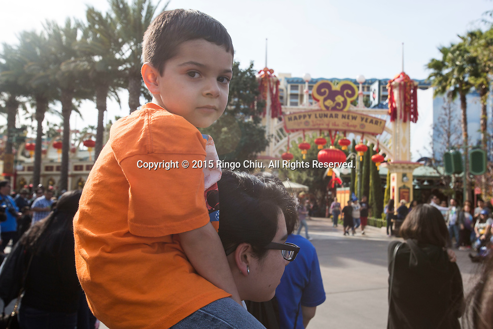 Guests visit the Paradise Garden in Disney California Adventure Park during the Happy Lunar New Year Celebration on Saturday February 21, 2015 in Anaheim, California. (Photo by Ringo Chiu/PHOTOFORMULA.com)