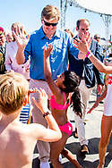29-6-2018 SCHEVENINGEN - King Willem-Alexander during a visit to the Volvo Ocean Race Finish. The sailing competition around the world ends this year after eleven stages and 45,000 nautical miles in the port of Scheveningen. ROBIN UTRECHT