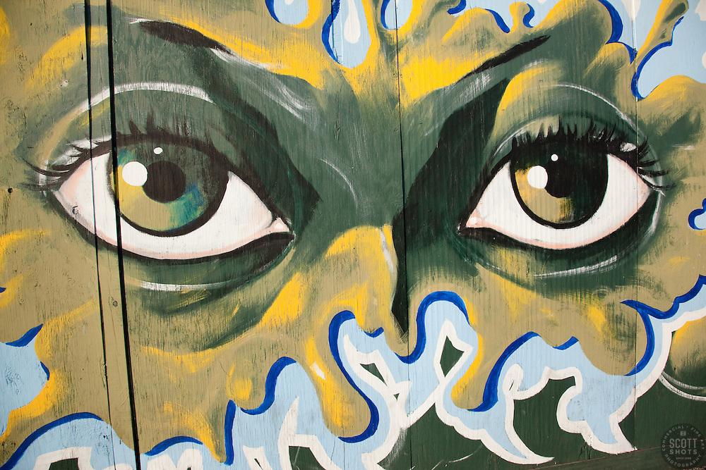 Painting of eyes in Nassau, Bahamas.