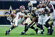 NEW ORLEANS, LA - SEPTEMBER 9:  Ryan Fitzpatrick #14 of the Tampa Bay Buccaneers runs the ball during a game against the New Orleans Saints at Mercedes-Benz Superdome on September 9, 2018 in New Orleans, Louisiana.  The Buccaneers defeated the Saints 48-40.  (Photo by Wesley Hitt/Getty Images) *** Local Caption *** Ryan Fitzpatrick