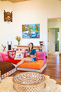 Olympic skier Julia Mancuso at her home on the island of Maui, Hawaii. Julia hanging out and practicing her ukulele