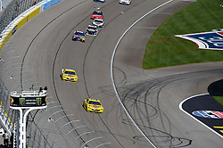 March 4, 2018 - Las Vegas, NV, U.S. - LAS VEGAS, NV - MARCH 04: Joey Logano (22) Team Penske Pennzoil Ford Fusion and Ryan Blaney (12) Team Penske Ford Fusion lead the field to the starting line during the Monster Energy NASCAR Cup Series Pennzoil 400 on March 04, 2018 at Las Vegas Motor Speedway in Las Vegas, NV. (Photo by Chris Williams/Icon Sportswire) (Credit Image: © Chris Williams/Icon SMI via ZUMA Press)