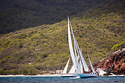 Galatea and Winsome sailing the Butterfly Race at the Antigua Classic Yacht Regatta.