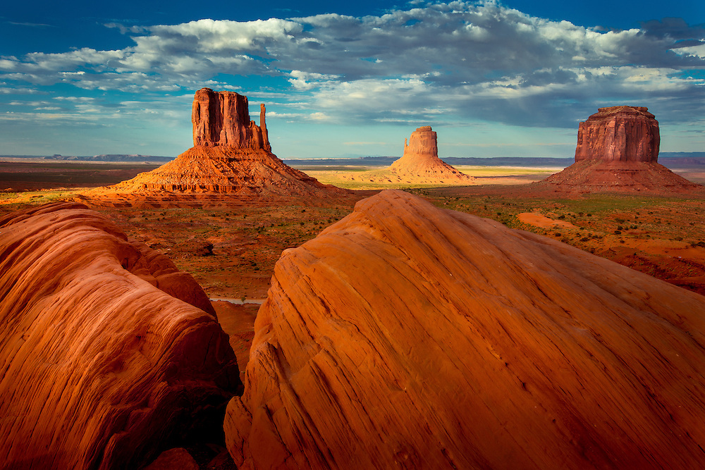 Sandstone monoliths  in Monument Valley, Utah
