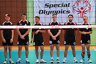 Serbia's Team while opening ceremony during of The Special Olympics Unified Volleyball Tournament at Ursynow Arena in Warsaw on August 27, 2014.<br /> <br /> Poland, Warsaw, August 27, 2014<br /> <br /> For editorial use only. Any commercial or promotional use requires permission.<br /> <br /> Mandatory credit:<br /> Photo by © Adam Nurkiewicz / Mediasport