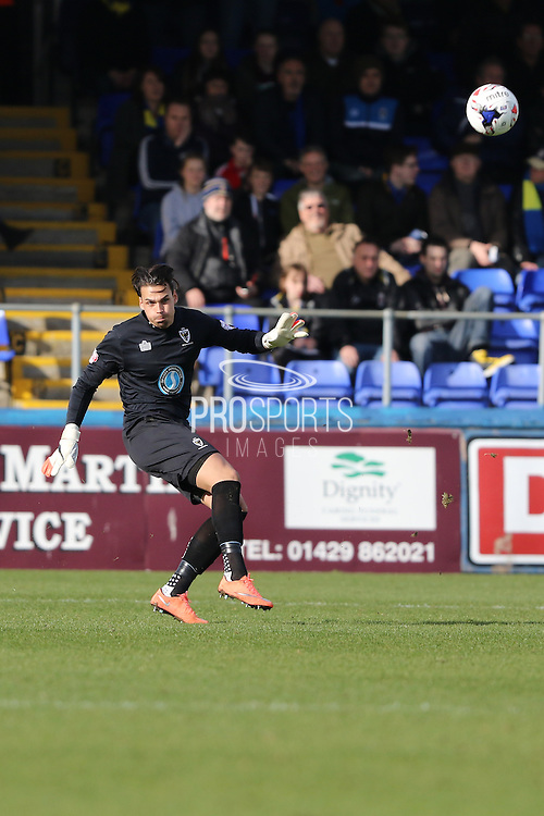Kelle Roos Goalkeeper for AFC Wimbledon (29) during the Sky Bet League 2 match between Hartlepool United and AFC Wimbledon at Victoria Park, Hartlepool, England on 25 March 2016. Photo by Stuart Butcher.