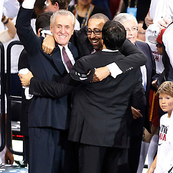 Jun 20, 2013; Miami, FL, USA; Miami Heat president Pat Riley embraces head coach Erik Spoelstra and assistant coach David Fizdale after game seven in the 2013 NBA Finals at American Airlines Arena. Miami defeated San Antonio Spurs 95-88 to win the NBA Championship. Mandatory Credit: Derick E. Hingle-USA TODAY Sports